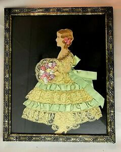 RIBBON, LACE, PAPER LAYERED COLONIAL / ART DECO LADY'S GOWN GREEN, FRAMED NICE