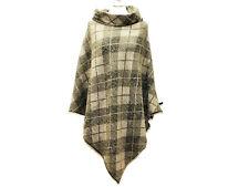 Poncho Wolle Schwarz Meliert Cape Umhang Überwurf Boho Jacke