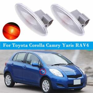 2x Side Marker Turn Signal Lamp Fender Light For Toyota Corolla Camry Yaris RAV4