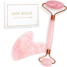 Rose Quartz Crystal GuaSha Facial Roller & Body Gua Sha Board Massager Tool Kit