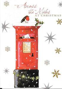 CHRISTMAS CARD ACROSS THE MILES - ROBIN ON A POSTBOX