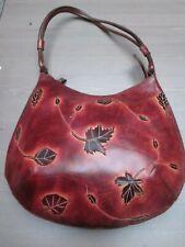 "Original sac à main en cuir  avec motif ""feuilles"" d'un côté"