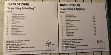 DAVID SYLVIAN  Everything & Nothing UK 2 CD PROMO Japan