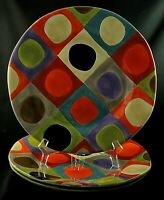 """Urban Dots by Pier 1 DINNER PLATES Stoneware 11 1/2"""" Set of 3 Imperfect"""