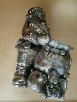 "Vintage Christmas 12"" Silver Painted  Resin Santa Claus Statue ~Candy dish"