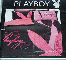 Playboy Black Pink Double Bed Microfibre Printed Quilt Cover Set New