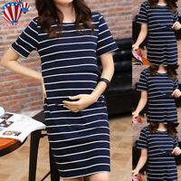 Women Pregnant Dress O-Neck Nursing Maternity Short Sleeve Striped Summer Dress