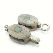 Wood Boat Pulley Antique Nautical Vintage Quantity = Two