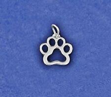 Paw Print Charm Pawprint Silhouette Pendant Pet Cat Dog Rescue Sterling Silver P