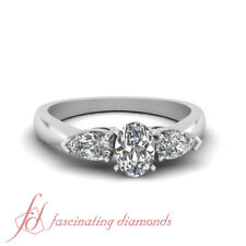 1.60 Ct Oval Shaped Conflict Free Diamond Double Drop Engagement Ring 14K Gold