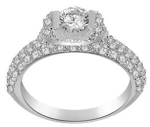 Solitaire Anniversary Ring SI1 G 1.30 Ct Genuine Diamond 14K White Gold Pave Set