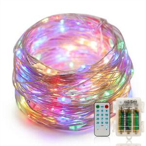 Battery Powered  LEDS Copper Wire String Fairy Lights Xmas W/ Remote Control