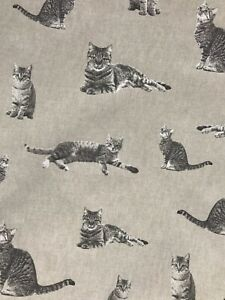 Tabby cat design linen look cotton canvas craft fabric