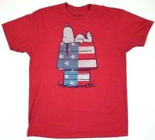USA Snoopy Patriotic Classic Red T-Shirt Mens's Official Peanuts Dog House Sz L