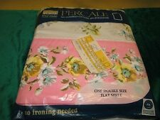 Vintage Montgomery Ward Percale Double Flat Sheet Floral Design Yellow Flowers