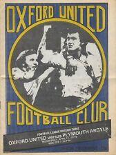 Football Programme>OXFORD UNITED v PLYMOUTH ARGYLE Apr 1979