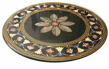 "42"" Black Marble Inlay Antique Pietra Dura Marquetry Home Decor Coffee Table Top"