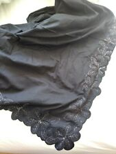 Lovely EAST black cotton sarong or shawl with decorated edge vgc
