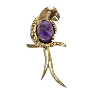 Antique German Vermeil Gold Over Silver Amethyst Textured Parrot Bird Brooch Pin