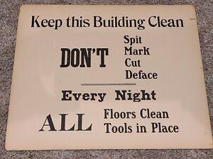 Antique Commercial Business Shop Sign KEEP THIS BUILDING CLEAN DON'T SPIT DEFACE