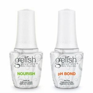 Gelish Soak-Off Gel Polish Set of pH Bond and Nourish Cuticle 0.5oz