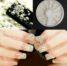 New White Pearl Nail Art Stone Different Size Wheel Rhinestones Beads A+ 28CF