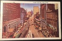 Vintage Postcard Time Square New York Linen Postdate 1937 B35
