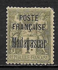 MADAGASCAR , FRANCE , 1895 , 1fr STAMP O.P.  , PERF, VLH , CV$105.00
