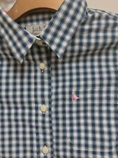 £59 JACK WILLS PREPPY DARK NAVY BLUE PINK CHECK CHECKED TARTAN SHIRT 8 4 36