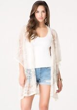 Bebe One Size Lace Kimono Wrap Floral and Chevron Lace Coverup NEW