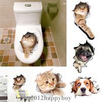 DIY Dog Cat 3D Toilet Seat Wall Sticker Bathroom Home Decal Cute Decor Vinyl Art