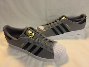 NWT Adidas Originals Superstar Shoes C77386 Black Gray Size 13