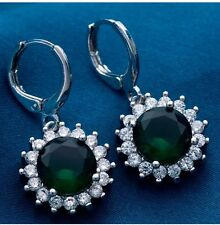 Emerald Green Diamond Crystal DROP Dangle Earrings Silver BEAUTIFUL