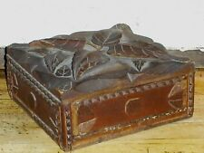 Folk Art Primitive Wood Box Carved Design w/Drawer SIGNED Original Patina AAFA