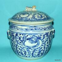 CHINESE PORCELAIN KAMCHENG NONYA WARE 19THC ANTIQUE BLUE WHITE COVERED TUREEN