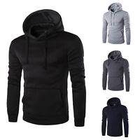 Plain Black Sweatshirt Mens Sweater Pullover Hoodie Cotton Jacket OutwearA