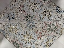 STUNNING VINTAGE IRISH LINEN HAND EMBROIDERED COLOURED MADEIRA TABLECLOTH~FLORAL