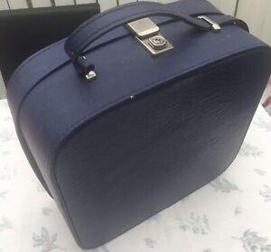 Vintage Retro Vinyl Make Up Bag Vanity Hard Case Travel Overnight Luggage