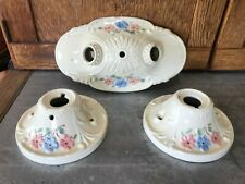 Vtg Harmony House Porcelain Bathroom Floral Art Deco Light Fixtures Ceiling Wall
