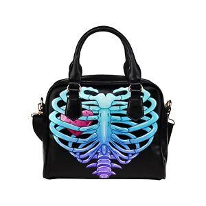 Creepy Ribcage Gothic Ladies Small Handbag, Crossbody bag, Alternative, Punk