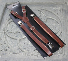 Vintage Pu Leather Adjustable Suspenders y-back,dark Brown,Wedding man,adult