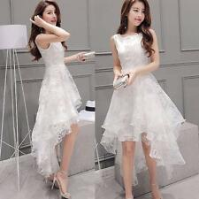 New Temperament Bottoming Dress Women Sleeveless High Low Hem White Slim Prom