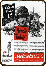 1944 MOTOROLA HANDIE TALKIE WWII RADIO TELEPHONE Vintage Look Replica Metal Sign
