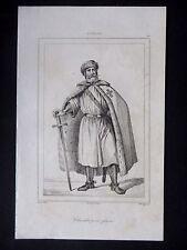 GRAVURE ANCIENNE 19e - RUSSIE - CHEVALIER PORTE GLAIVE