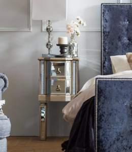 Vintage Bedside Furniture Venetian Mirrored Cabinet Antique Unit Silver Table