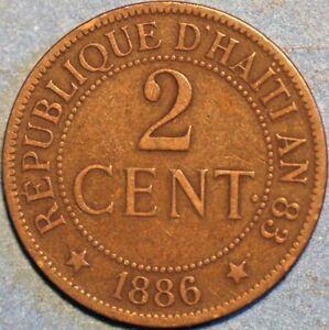 2 Centimes 1886 Haiti KM# 49 P525