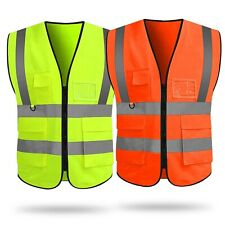 Security Safety Vest With High Visibility Reflective Stripes Withpockets 2 Colors