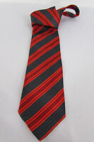 Bernini Beverly Hills Men Red Gray Stripes Silk Classic Dressy Suit Neck Tie