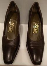 Salvatore Ferragamo  Dark Brown Leather Pumps Heels 7 B Made in Italy Shoes