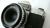 Cased Pentacon Praktica Nova 1 CARL ZEISS JENA TESSAR 2.8/50 Zebra Stripe Lens